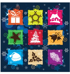 Set christmas icon background vector