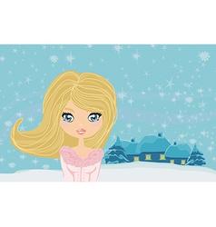 Sweet teen winter girl vector
