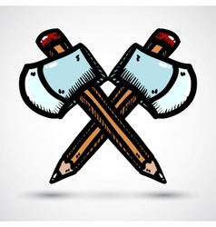 Axe with pencil cartoon vector