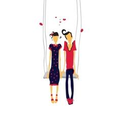 Couple in love lovers on teeterboard vector