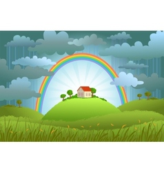The rainbow protects the small house vector