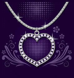 Platinum necklace with brilliants vector