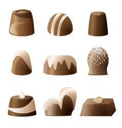 Chocolate bonbon set vector