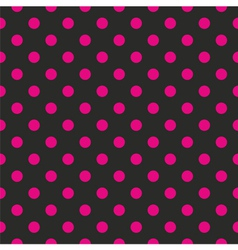 Tile pink polka dots on black background vector