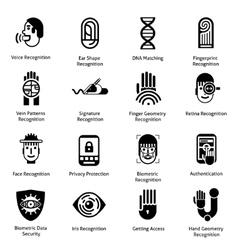 Biometric authentication icons black vector
