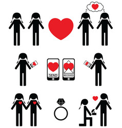 Gay women falling in love and engagement icons set vector