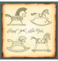 New year vintage card with rocking toys horses vector