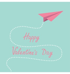 Origami pink paper plane dash line valentines day vector