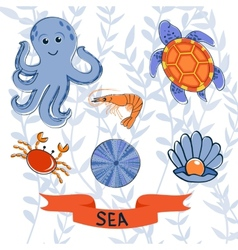 Sea creatures colorful collection vector