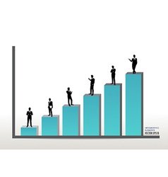 Businessman standing on graph vector