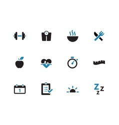 Fitness duotone icons on white background vector