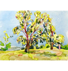 Original watercolor painting of summer tree vector