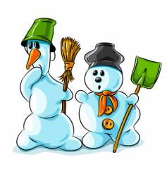 Surprised winter snowmen with cleaning vector