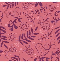 Cute seamless background with bird and berry vector