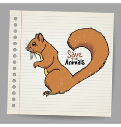 Squirrel with save the animals sign vector