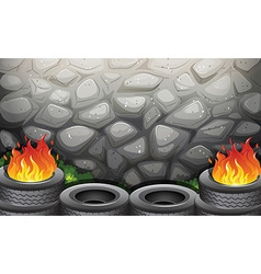Burning tires near the stonewall vector
