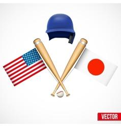 Symbols of baseball team usa and japan vector