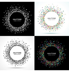 Set of abstract halftone circle frames vector