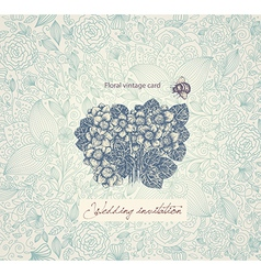 Floral wedding inviation vector