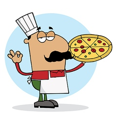 Cartoon pizza chef vector