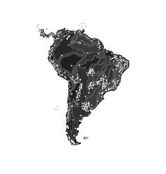 South america at night as engraving vector