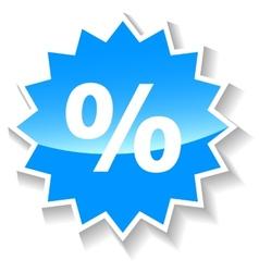 Percentage blue icon vector