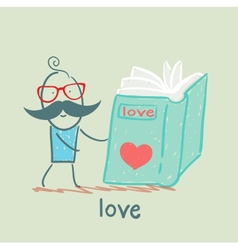Man reading a book about love vector