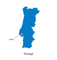 Detailed map of portugal and capital city lisbon vector