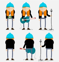 Hippie ginger musician with the blue cap vector