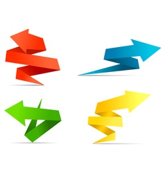 Arrow web banners and labels in origami style vector
