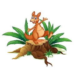 A kangaroo above a trunk vector