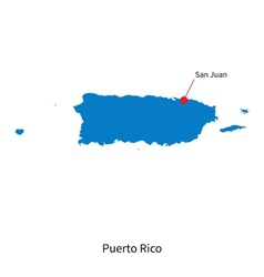 Detailed map of puerto rico and capital city san vector
