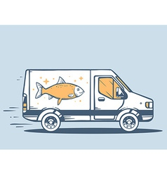 Van free and fast delivering fish to cust vector