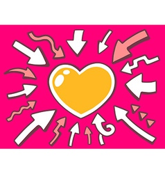 Arrows point to icon of heart on pink bac vector