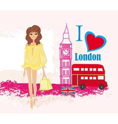 Beautiful woman in london abstract card with vector