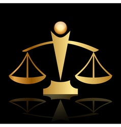 Gold icon of justice scales on black background vector