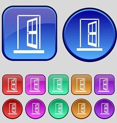 Door enter or exit icon sign a set of twelve vector