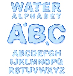 Water alphabet letters set vector