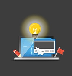 Modern laptop with light bulb development concept vector