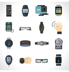 Wearable technology icons vector