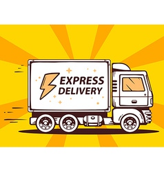Truck free and fast express delivering to vector