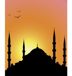 Mosque and sunrise vector