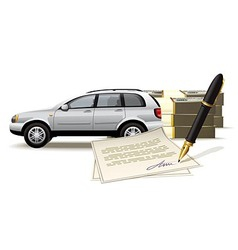 Safe buying and selling a car for cash vector