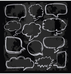 Speech bubbles on chalkboard vector