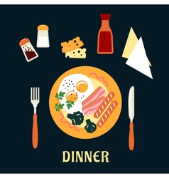 Tasty cooked dinner on a plate vector