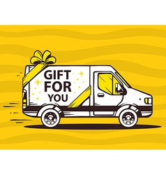 Van free and fast delivering gift to cust vector