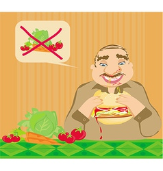 Funny man eating hamburger vector
