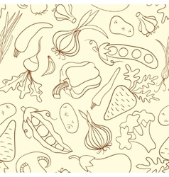 Simple doodle seamless pattern with vegetables vector