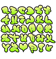 Graffiti bubble fonts with gloss and outline lemon vector
