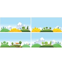 Set of summer landscape vector